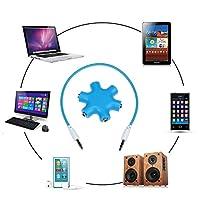 Sound Wave Pro【Amazon即日出荷】3.5mm マルチ オーディオ スプリッター6口 ~入出力対応の6つのイヤホンジャック搭載~ オーディオ分配 メス(×6) ヘッドホン マイク 分岐 iPad iPhone iPod MP3プレーヤー タブレット 等対応 音楽シェア サークル ヘッドフォンスプリッタ +3.5mmケーブ ル(M×2)ホワイト付 SW S6口F