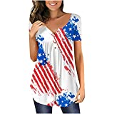 Womens Summer Tops, Short Sleeve Tunic Loose Casual Independence Day Floral Printing Tshirts Tie-dye Gradient Blouse