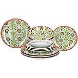 MamboCat Vila 12-teiliges Teller-Set bunt I Geschirr-Set Teller für 4 Personen I farbenfrohe Speise-Teller Suppen-Teller Kuchen-Teller mit Muster im Mandala-Design I Porzellan-Geschirr-Set bunt-gelb