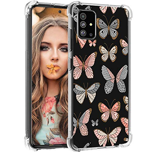 ZDO Samsung Galaxy A51 Case - Clear Butterfly Shockproof TPU Bumper Phone Case for Galaxy Note 20 Full Protection Cute Cell Phone Covers for Samsung Galaxy A51-2