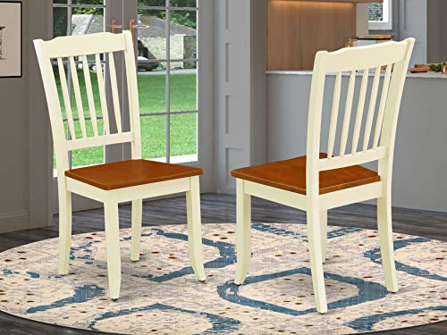 East West Furniture Danbury Dinning Room Vertical Slatted Chairs Back in Buttermilk and Cherry Finish (Set of 2), Buttermilk & Cherry
