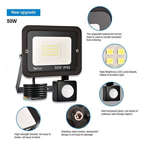 50W LED Foco Exterior con Sensor Movimiento, bapro Proyector Led ...