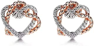 18K Gold Heart Earrings Female Models Factory Custom White Gold Color Matching Diamond Fashion Accessories