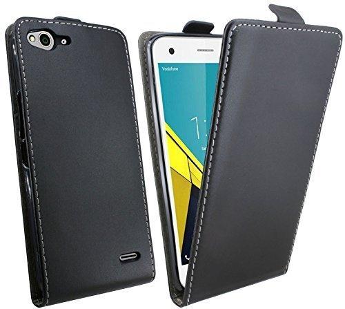 ENERGMiX Klapptasche Schutztasche kompatibel mit VODAFONE SMART Ultra 6 in Schwarz Tasche Zubehör Flip-Cover Hülle