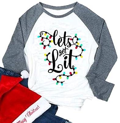 Lets Get Lit Christmas Shirt Women Lights Funny Holiday Christmas Casual T-Shirt Tops
