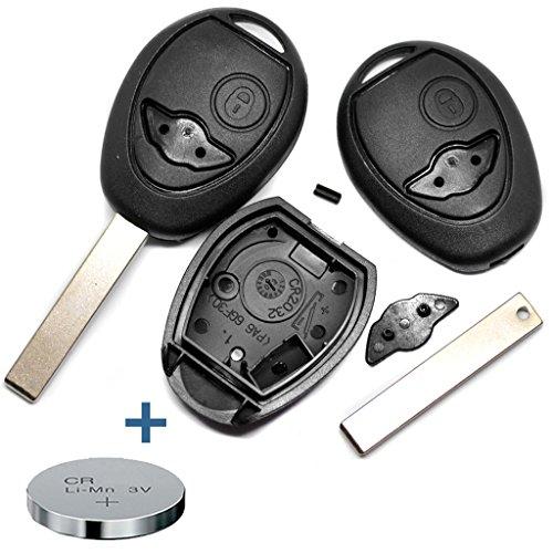 Repair Reparatur Satz Gehäuse Funkschlüssel Fernbedienung Autoschlüssel 2 Tasten Rohling + CR2032 Batterie kompatibel mit Mini