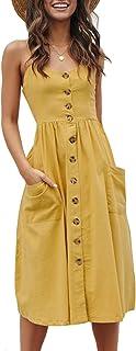 OMZIN Damen Kleid Strandkleid Sexykleid A-Linie Sommerkleid Schulterfrei Ärmellos Viele Färben Große Größe XS-XXL