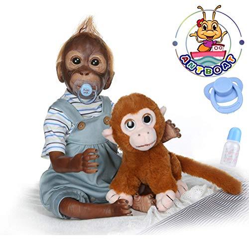 ANTBOAT Realistische Reborn Puppe 50 cm Weiches Silikon Vinyl Reborn AFFE Jungen Lebensecht handgefertigt mit Kuscheltier