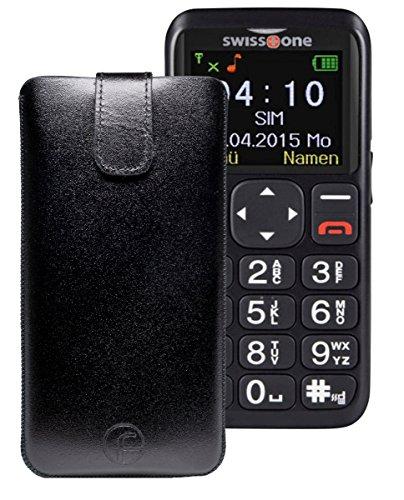 Favory ECHT Ledertasche Leder Etui / Swisstone BBM 515 Tasche (Lasche mit Rückzugfunktion) schwarz