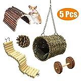 Ewolee Jouets à mâcher de Hamster, Lot de 5 Jouets pour perroquets ou Hamster, Pont Échelles, Clôture en Bois, Pont, Natural Pineal, Haltère, Perché Hamac Accessoire Hamster