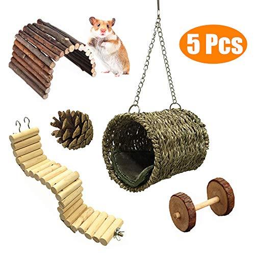 Ewolee 5 Stück Hamster Vogel Nest Natürliche Gras Tunnel Schlafplatz,Kletter Holz Leiter Große Swing Vogel Spielzeug,Kleines Haustier Hängematte