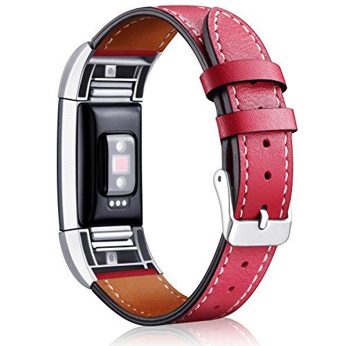 """Mornex Für Fitbit Charge 2 Armband, echtes Leder-Armbänder, Unisex-Ersatzband mit Metall Konnektoren(5,5\""""-8,1\"""") Rot"""