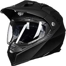 ILM Off Road Motorcycle Dual Sport Helmet Full Face Sun Visor Dirt Bike ATV Motocross Casco DOT Certified (L, Matte Black)