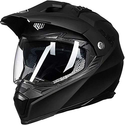 ILM Off Road Motorcycle Dual Sport Helmet Full Face Sun Visor Dirt Bike ATV Motocross Casco DOT Certified (XL, Matte Black)