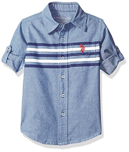 U.S. Polo Assn Big Boys' Long Sleeve Printed Stripe Single Pocket Sport Shirt, Blue, 14/16