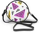 BAODANLA Bolso redondo mujer Women Soft Leather Zipper Round Shoulder Bags - Bright Color Triangle Sling Bag