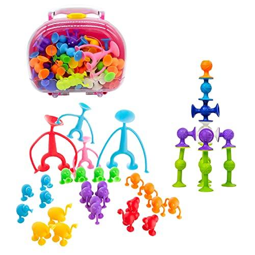 Grust 43 Stücke Pop Sauger, Saugspielzeug Darts Sucker Spiel, Baustein Set Klebrig Spielzeug, Kinder Saugspielzeug Mit Aufbewahrungsbox, Silikon Kombination Sucker Spielzeug Für Kinder Erwachsener