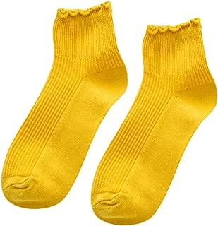 OSYARD Damen Socken,Sportsocken,Füßlinge, Frauen Wollsocken Kurze Socks Baumwolle Socken Candy Farbe Socken Knöchelsocken Rüschen Mid Tube Socken Wintersocken Kuschelsocken Haussocken