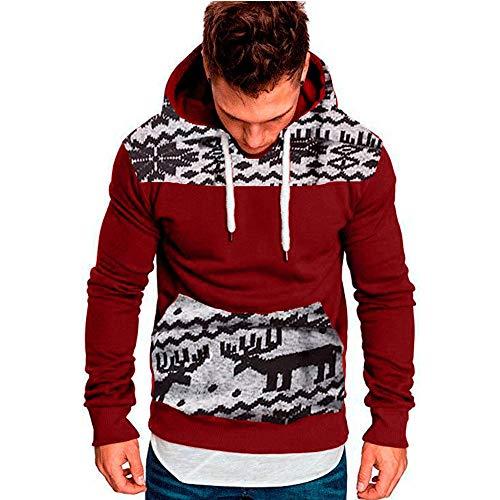 Yvelands ¡Oferta Sudaderas con Capucha para Hombre Cosy Sport Outwear Sudadera con Cremallera Completa Ecosmart Hoodie Casual Sweatshirt Top Blouse ¡Caliente!(Rojo2,L)