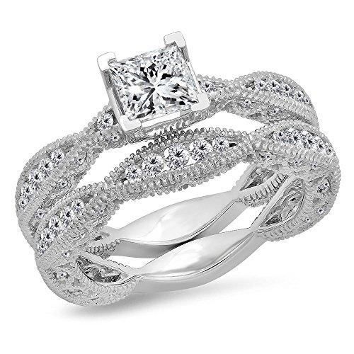 Dazzlingrock Collection Juego de anillos de compromiso de oro de 1,80 quilates (quilates) de 10 quilates y diamante blanco de corte redondo en forma de V de 1 3/4 quilates