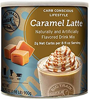 Big Train Carb Conscious Coffee, Caramel Latte, 1.98 Pound, Low Carb Powdered Instant Coffee Drink Mix, Serve Hot or Cold, Makes Blended Frappe Drinks