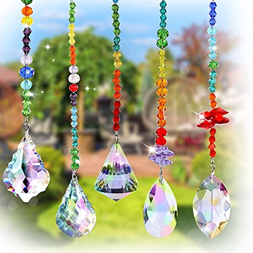 Fmlkic Cristal Arcoíris Colgante, 5 pcs Cristal Arcoiris, Colgante de Prisma de Cristal, Cristal Atrapasol, Bola de Prisma de Cristal, Arco Iris Colgante de Cristal para Jardín Ventana