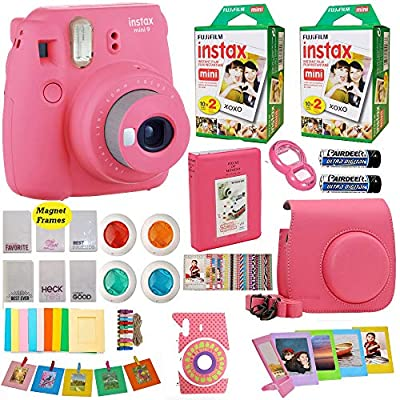 Fujifilm Instax Mini 9 Instant Camera + Fuji INSTAX Film (40 Sheets) Includes Camera Case + Frames + Photo Album + 4 Color Filters and More from Abesons