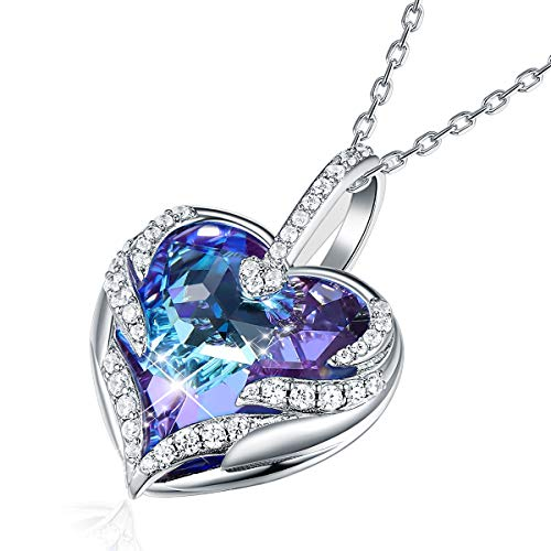 CRYSLOVE Angel Wing Love Heart Necklace for Women White Gold Plated October Birthstone Crystal Pendant Jewelry Gifts for Mother/Wife/Sister