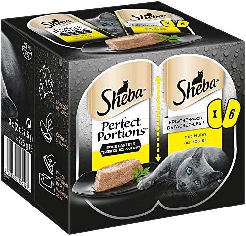 Sheba Katzenfutter Nassfutter Perfect Portions, Edle Pastete mit Huhn im praktischen Frischepack, 24 Doppelschalen (8 x 3 x 75g), 1800 g
