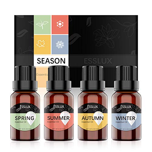 Essential Oils Blend, ESSLUX Season Aromatherapy Essential Oils Set for Diffuser & Candle Making, Soothing and Natural Fragrance, 4x15ml