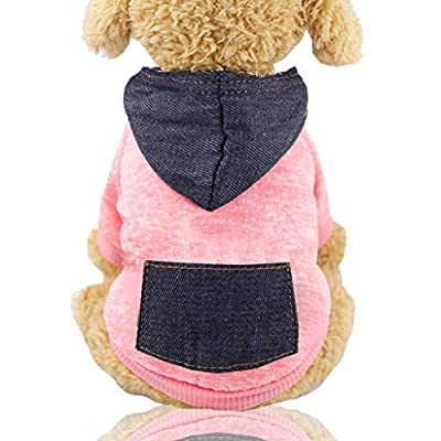 LEEDY Pet Clothing Hooded Clothes Dog Coat T-Shirt Winter Warm Sweatshirt Cat Hoodie Autumn Outdoor Pullover Jumpsuit for Small Dogs Puppy Schnauzer Teddy Poodle Chihuahua