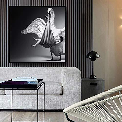 oioiu Cisne Cartel en Blanco y Negro impresión de Cartel de bebé Mural Lienzo Pintura jardín de Infantes bebé Estilo nórdico niños Pintura de Pared Decorativa sin Marco