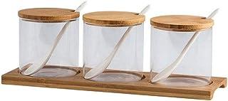 SPNEC À épices en Verre Pot avec Une cuillère Spice Container Organisateur Boîtes Assaisonnement Poivrière Boîte de Rangem...