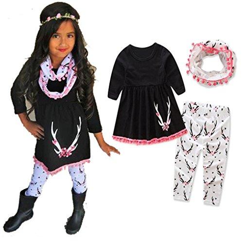 Bébé Ensemble de Vêtements,LMMVP 3pcs Infantile Bébé Fille Garçon Cerf Imprimé Top + Pantalons + Écharpe Noël Vêtements Ensemble (120(4-5T), Noir)