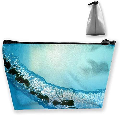 Blue and Fire Glass Smoke Multi-Functional Trapezoidal Storage Bag Toiletry Bag Zipper Receive Bag