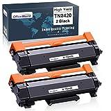OfficeWorld Compatibile Brother TN-2420 TN2420 TN2410 TN-2410 Cartucce di toner (2 Nero) con Chip per MFC-L2710DW L2710DN L2730DW L2750DW, HL-L2310D L2350DW L2375DW L2370DN, DCP-L2510D L2530DW L2550DN
