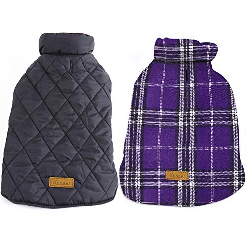 Kuoser Cozy Waterproof Windproof Reversible British Style Plaid Dog Vest Winter Coat Warm Dog Apparel for Cold Weather Dog Jacket for Small Medium Large Dogs with Furry Collar (XXS - 4XL) Purple L