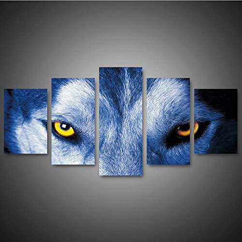 RQWWLH Canvas poster ram vardagsrum Hd tryck bild 5 paneler djur varg med angelägen ögon modern väggkonstnär residens dekorativ målning 200 x 100 cm/78,8 x 39,4 tum