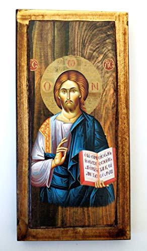 Icône en Bois Grecque chrétienne orthodoxe en Bois Fait à la Main