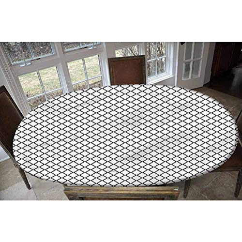 LCGGDB Trellis Elastic Edged Polyester Fitted Tablecolth -Doodle Style Design- Oval/Olbong Fitted Table Cover - Fits Oval/Olbong Tables up to 48'x68',The Ultimate Protection for Your Table