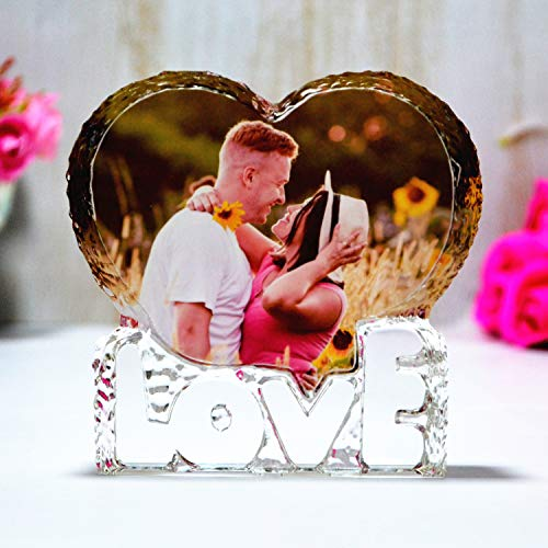 Crystal custom color picture-personalized heart-shaped crystal photo...