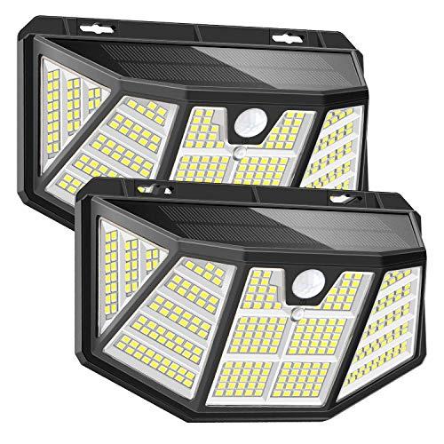 Pathinglek 310 LED Outdoor Solar Lights 2 Packs, 2021 Upgraded Solar Motion Sensor Light IP65 Waterproof Wireless Solar Wall Light with 3 Lighting Mode 270°Wide Angle for Yard Garage Fence