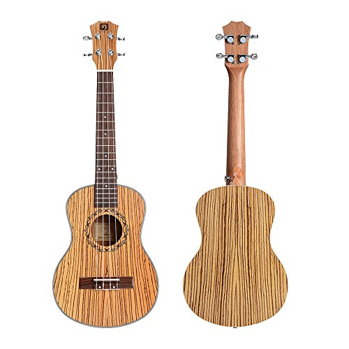 Vangoa UK-26Z Tenor 26 inches Acoustic Ukulele in Zebrawood with Nylon Strap, Kazoo, Pick, Pick Container, Carry Bag, Tuner, Backup Strings, Finger...