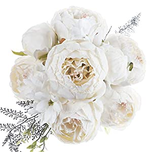 JyiHope Artificial Peony Silk Flowers Fake Peonies Vintage Bouquet Home Table Centerpieces Wedding Decoration (Spring White)