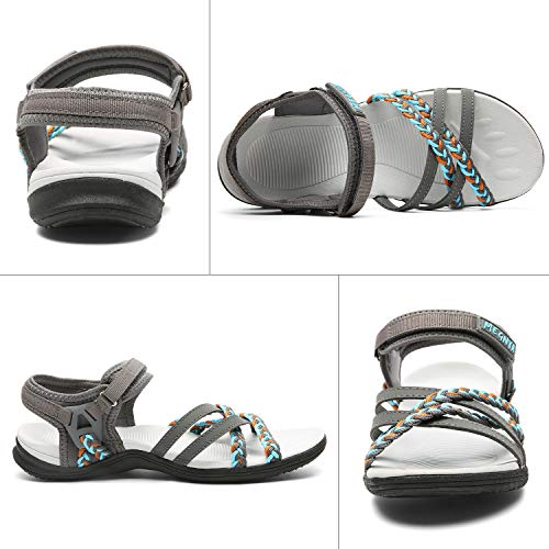 Comfortable Hiking Sandals for Women, Lightweight Rubber Outsole Walking Sandals for Camping, Sports Sandals with Adjustable hook and loop Straps Size 8