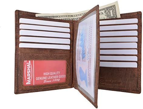 Mens Bifold Hipster Genuine Hunter Leather RFID Blocking Euro Credit Card ID Bill Wallet Brown product image
