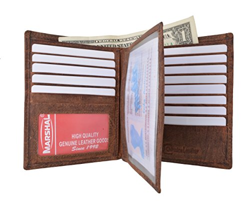 Marshal Bifold Leather RFID Blocking Wallet For Men & Women | Genuine Leather Holder With 20 Slots, 2 Bill Compartments & ID Window | Hipster wallet Money, Driver's License, Travel & More (Vintage)