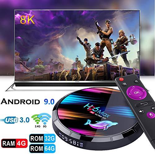 Smart TV Box,Dnyker Android 9.0 TV Box Smart Player 4GB RAM 64GB ROM 3D/ 8K Ultra HD/H.265/2.4GHz WiFi/USB 3.0/ Android Media Box Media Players Streaming