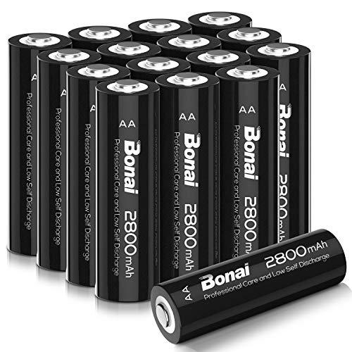 BONAI Akku AA 2800mAh Wiederaufladbare Batterien hohe Kapazität 1,2V AA NI-MH Aufladbare Akkubatterien geringe Selbstentladung (16 Stück)