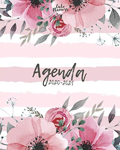 Agenda 2020-2021: Agenda 2020 -2021: Cute Planners / Pretty White & pink floral Two Year Daily Weekly planner organizer ( Jan 2020 - Dec 2021 ) Agenda with Holidays, 24 Months / women's agenda